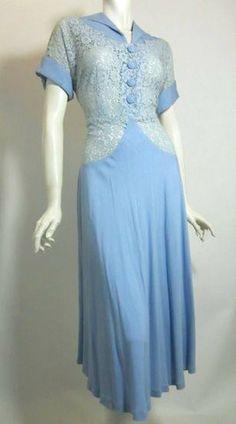 Baby Blue Lace & Rayon Dress circa 1950s