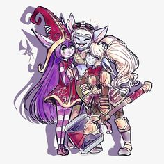 I love playing leauge so I drew some league midgets Lulu, Tristana and Poppy Riot Games© Paint Tool SAI + Gimp as always