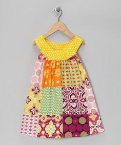Pink & Yellow Patchwork Yoke Dress - Girls