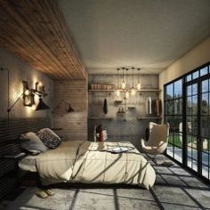 Beautiful Concrete Lover Bedroom Design Bedroom 50 Industrial Bedroom Design Ideas You Can Try In 2018 Men's Bedroom Design, Industrial Bedroom Design, Simple Bedroom Design, Contemporary Bedroom Decor, Bedroom Colors, Bedroom Sets, Bed Design, Men Bedroom, Modern Industrial
