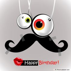 Happy Birthday Kiss Card With Funny Mustache
