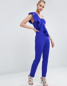 ASOS $68 Jumpsuit in Scuba with One Shoulder Ruffle