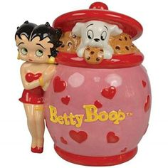 11 inch Betty Boop Red & Pink with Hearts Cookie Jar and Puppy Inside