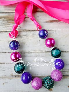 Hot Pink Purple and Teal Satin Chunky Necklace  by babyzdesigns