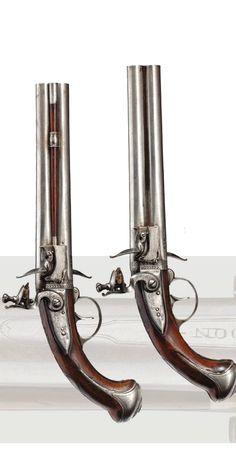 A pair of flintlock wender pistols , Wallis in London,circa 1740
