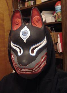 Painted Kitsune Mask by saramations