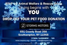 Please bring Donations to Storms Motors in Southampton 691 County Rd 39A, Southampton, NY
