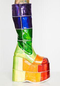 784c7afbc0 Demonia Way Up High Rainbow Stack Platforms   Dolls Kill Underground Shoes,  Rainbow Serpent,