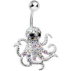 Aurora Gem Encrusted Floating Octopus Belly Button Ring #BodyCandy #Bellyring #Trending