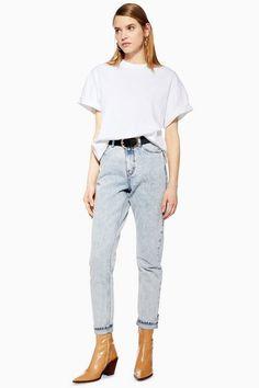 600c21296ae Womens Bleach Acid Wash Mom Jeans - Bleach Stone