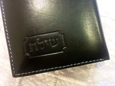 Blessing Wallet for men engraved with the sacred letter combination Shin-Yod-Lamed-Tav - שילת  Size 3.5x4.5 inch  in black
