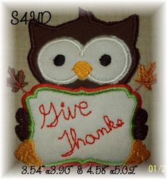 Applique thanksgiving owl