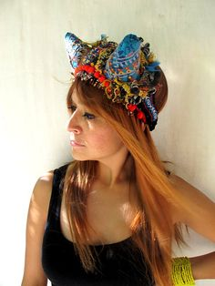 Festive Aztec Headpiece w Intricate Beadwork by OceanOfEmotion, $42.00