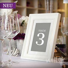 Tischnummer im Rahmen Weiß