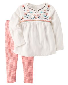 Baby Girl 2-Piece Embroidered Babydoll Top