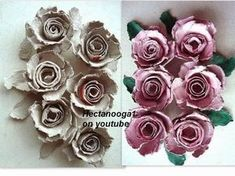 Make Paper Roses From Egg Cartons • Free tutorial with pictures on how to make a piece of paper art in under 20 minutes