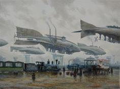 古き良き時代に巨大飛行船が飛び交う、スチームパンクのレトロフューチャーイラスト