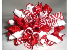 Christmas hairbows | Candy Cane Christmas Korker Hair Bow-