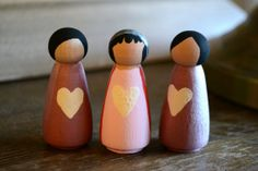 Valentine's Handpainted Peg Girl Dolls, Set of Three