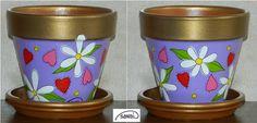 Kézzel festett, szivecskék virágmintás agyagcserép