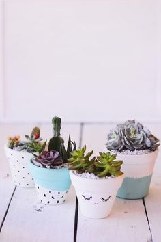 Sweet Painted Terra Cotta Pots with Succulents Süße bemalte Terrakotta-Töpfe mit Sukkulenten Succulent Planter Diy, Cacti And Succulents, Planting Succulents, Planting Flowers, Planter Ideas, Diy Planters, Succulent Favors, Vase Ideas, Decor Ideas