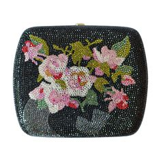 Pre-Owned Judith Leiber Swarovski Black and Floral Crystal Miniaudiere... ($1,607) ❤ liked on Polyvore featuring bags, handbags, clutches, black, floral clutches, flower print handbags, judith leiber clutches, crystal purse and pre owned handbags