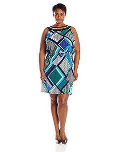 Sandra Darren Womens PlusSize Embellished Neck Printed Blouson Dress JadeBlueMulti 24W ** Check out the image by visiting the link.