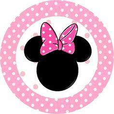 Minnie Mouse: toppers o etiquetas para imprimir gratis, en tonos rosa y lunares.