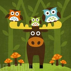 86B Bright Owls and Moose 6 x 6 Print by leearthaus on Etsy, $15.00