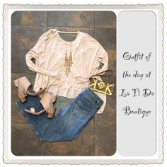 #ootd #outfitoftheday #hazel top #freepeople ankle jeans #volatile fringe sandals #monab wristlet #judsonandco necklace find it all at #latidaboutique where were are #readyforspringweather ☀️