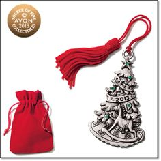 """2013 Christmas Tree Pewter Ornament*  AVON EXCLUSIVE  Dated """"2013."""" Pewter with faux stones. Includes hanging tassel and drawstring pouch."""