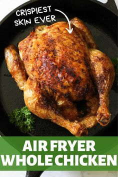 French Delicacies Essentials - Some Uncomplicated Strategies For Newbies Air Fryer Whole Chicken Is An Easy And Healthy Weeknight Roast That Is Ready In An Hour Or Less. Prepare For Juicy Chicken On The Inside And The Crispiest Skin You'll Ever Try On The Air Fryer Oven Recipes, Air Fry Recipes, Air Fryer Dinner Recipes, Healthy Dinner Recipes, Cooking Recipes, Game Recipes, Ninja Recipes, Whole30 Recipes, Healthy Food