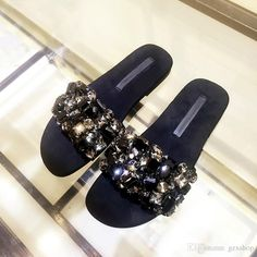 New Arrival Fashion Women Flat Shoes Rhinestone Slides Crystal Embellished  Sandals Sexy Black Beach Shoes Woman Real Photo Slipper Dress Shoes From  Gzxshop 0c7c308a27ef