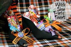 We continue our Halloween Party on a Budget today with these fun Witch Shoe Party Favors! They are also just as cute as they can be sitting on the table for decoration. When I first spotted these last year during the All-Halloween Bash when Red. Halloween Party Favors, Halloween Candy, Cute Halloween, Holidays Halloween, Halloween Decorations, Halloween Stuff, Halloween Punch, Witch Party, Halloween Parties
