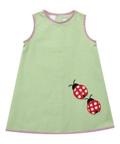 Look what I found on #zulily! Green Ladybug Sleeveless A-Line Dress - Infant & Kids #zulilyfinds