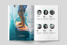 Ad: WAVERIDER MAGAZINE by Mashmish_Studio on A modern, minimal, magazine, folio or brochure InDesign template. This layout has been designed as a Surfing magazine, but could easily be Brochure Design, Flyer Design, Surf Design, Magazine Spreads, Indesign Templates, Grid System, Print Layout, Type Setting, Magazine Template