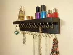 30 COLOR / FINISH CHOICES - Jewelry / Necklace Organizer - Jewelry Holder  -  Wall Mounted - With A Shelf - 31 Jewelry Hooks by BriarRidgeCreation on Etsy