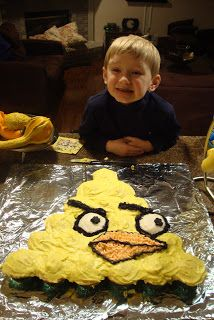 The (formerly) 30 Pound Cat: Yellow Angry Bird Cupcake Cake