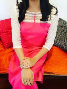Churidar Neck Designs, Salwar Designs, Kurta Designs Women, Blouse Designs, Kurti Sleeves Design, Kurta Neck Design, Casual Work Outfits, Chic Outfits, Simple Kurta Designs