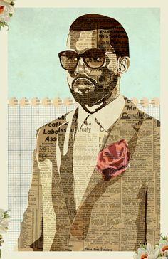 "Saatchi Art is pleased to offer the collage, ""Kanye T'da,"" by Kyle Mosher. Original Collage: Digital on N/A. Collages, Collage Art, Digital Collage, Newspaper Art, Inspiration Art, E Mc2, 3d Studio, Saatchi Online, African American Art"