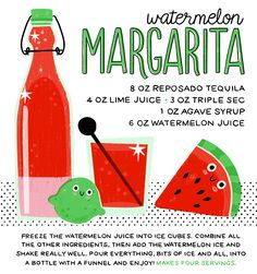 Watermelon Margarita / Cocktail Recipe by Liquorary / Recipe Card by Hooray Today for Oh So Beautiful Paper