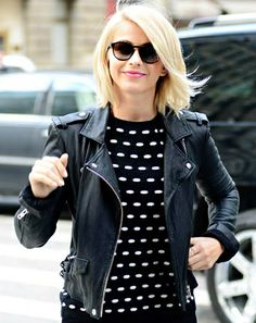 """I love a good short leather jacket because that goes with everything,"" Julianne Hough explains. Hair loose curls love this haircut highligh. Cut My Hair, Her Hair, Hair Cuts, Short Blonde, Blonde Hair, Short Wavy, Long Bob, Pretty Hairstyles, Wig Hairstyles"