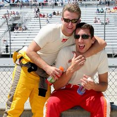 AJ Allmendinger & Justin Wilson Aj Allmendinger, Boys Round Here, Cat Dad, Nascar, North Carolina, Champion, Dads, Mens Sunglasses, Racing