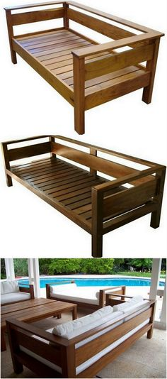 Pallet Utilizing Ideas To Try At Home - Furniture Outdoor Furniture Plans, Deck Furniture, Diy Pallet Furniture, Furniture Projects, Furniture Making, Outdoor Sofa, Furniture Design, Wooden Sofa Designs, Wooden Decor
