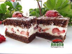 Cake with milk cream, chocolate and strawberry - Hai să gătim cu Amalia Baking Recipes, Dessert Recipes, Romanian Desserts, No Bake Cake, Chocolate Cake, Tiramisu, Oreo, Sweet Treats, Deserts
