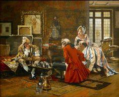 Juego de ajedrez ,óleo sobre tela de Francois Flamengs