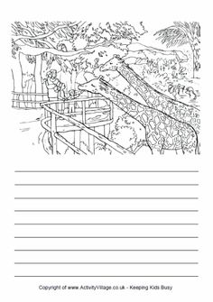 Here's a colouring page and writing lines designed to encourage your child to write about a visit to the zoo. What animals will the children see? Detailed Coloring Pages, Cool Coloring Pages, Creative Writing Worksheets, Writing Activities, Writing Lines, Writing Skills, Holiday Homework, Malay Language, Hindi Worksheets