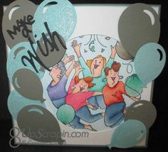 Art impressions Ai Girlfriends  Party Girls Set (Sku#4131) Handmade birthday card.