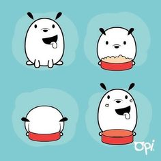 Hora de la comida #opi #dog #pet #draw #illustration #monday