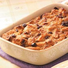 Ingredients 1 cup cubed cinnamon-raisin bread 1 egg 2/3 cup 2% milk 3 tablespoons brown sugar 1 tablespoon butter, melted 1/2 teaspoon cinnamon 1/4 teaspoon nutmeg Dash salt 1/3 cup raisins Place bread cubes in greased 2-cup baking dish. In a small bowl, whisk egg, milk, brown sugar, butter, cinnamon, nutmeg and salt until blended. Stir in raisins. Pour over bread; let stand for 15 minutes. Bake at 350° for 35-40 minutes. Serve warm.